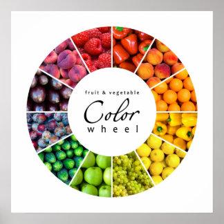 Rueda de color de la fruta y verdura (12 colores) posters