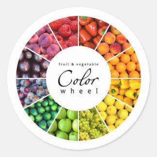 Rueda de color de la fruta y verdura (12 colores) pegatina redonda
