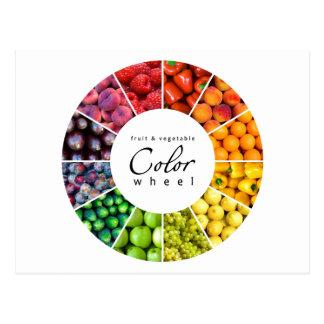 Rueda de color de la fruta y verdura (12 colores) tarjetas postales