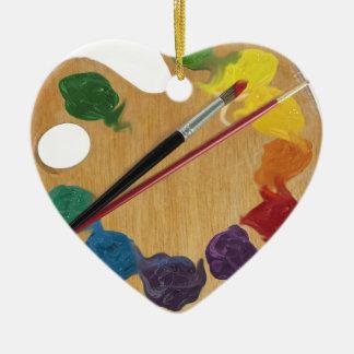 Rueda de color de la paleta del ` s del artista adorno navideño de cerámica en forma de corazón