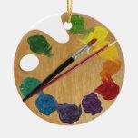 Rueda de color de la paleta del ` s del artista adorno navideño redondo de cerámica