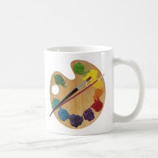 Rueda de color de la paleta del ` s del artista taza básica blanca