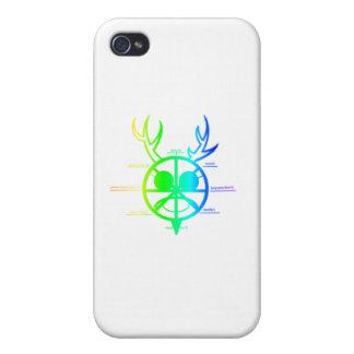 Rueda de cuernos de dios del arco iris del año iPhone 4 carcasa