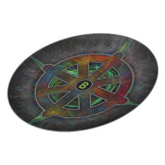 Rueda de Dharma de la energía Plato Para Fiesta