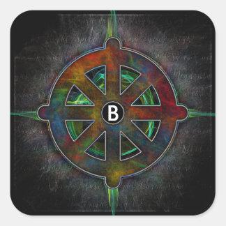Rueda de Dharma de la energía universal Pegatina Cuadrada
