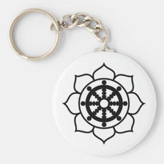 Rueda de Dharma de la flor de Lotus Llavero Redondo Tipo Pin