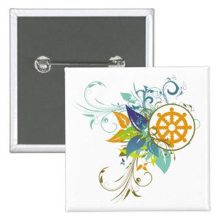 Rueda de Dharma floral Pin Cuadrada 5 Cm