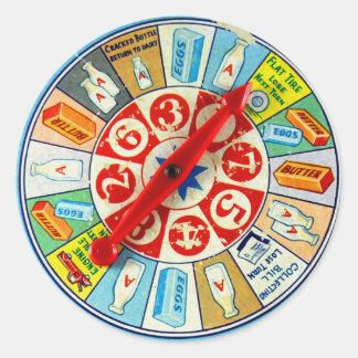 Rueda de hilado retra del juego de mesa del kitsch pegatina redonda
