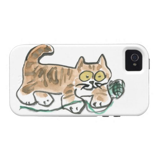 Rueda de la bola verde del hilado por el gatito de vibe iPhone 4 carcasas