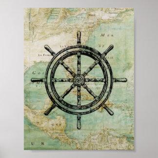 Rueda de las naves y poster náuticos antiguos del