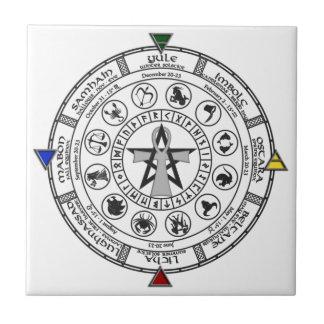 Rueda de las runas de Sabbats del zodiaco del año Azulejo Cuadrado Pequeño