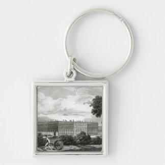 Rueda de los céspedes en el palacio del Hampton Co Llavero Cuadrado Plateado