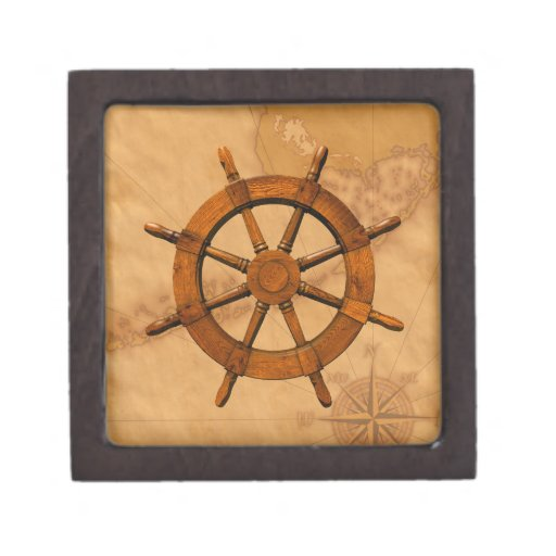 Rueda de madera de la nave caja de joyas de calidad