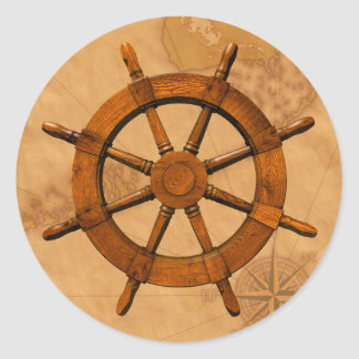 Rueda de madera de la nave pegatina redonda
