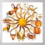 Rueda de madera del zodiaco de ValxArt del poster