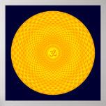Rueda de oro amarilla OM de la meditación de la fl Impresiones