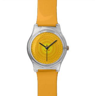 Rueda de oro amarilla OM de la meditación de la fl Reloj De Mano