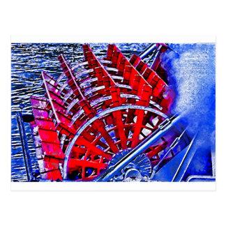 Rueda de paleta del barco de vapor tarjeta postal