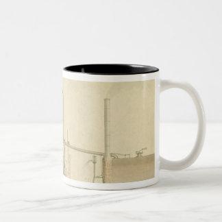 Rueda de paletas, opinión de perspectiva de la taza de café de dos colores