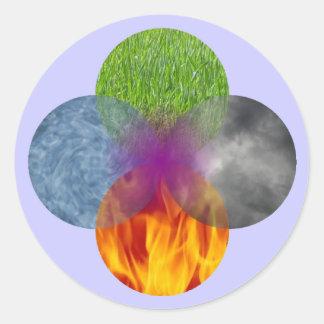 Rueda de ser - púrpura pegatina redonda