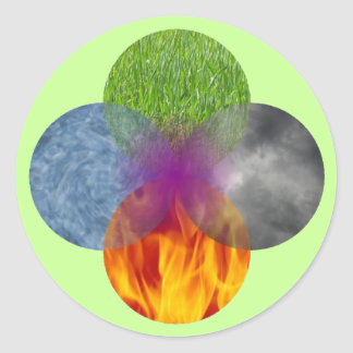 Rueda de ser - verde pegatina redonda