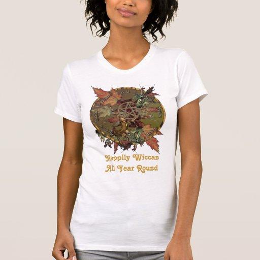 Rueda de Wiccan con el pentáculo Camiseta