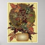 Rueda de Wiccan con la impresión del pentáculo Posters