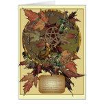 Rueda de Wiccan con las tarjetas de los saludos o