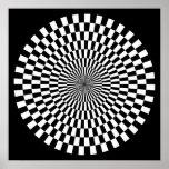 Rueda del arte de Op. Sys. - blanco y negro en neg Poster