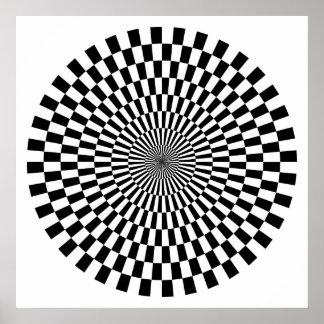 Rueda del arte de Op. Sys. - blanco y negro Póster