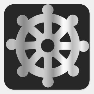 rueda del buddhism de dharma.jpg pegatina cuadrada