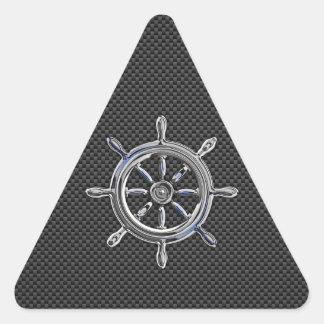 Rueda del cromo en fibra de carbono calcomanía de triangulo