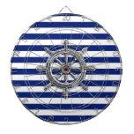 Rueda del cromo en rayas náuticas tablero de dardos