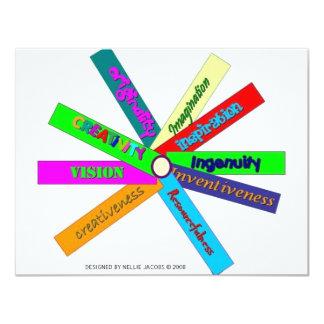 """Rueda del tesauro de la creatividad invitación 4.25"""" x 5.5"""""""
