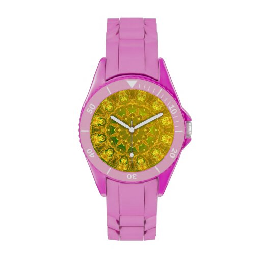 Rueda del verde amarillo de la mandala del fuego,  reloj de mano
