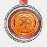 Rueda del vintage del desguace, naranja blanco y n ornamento para reyes magos