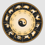 Rueda del zodiaco de Chiinese Pegatinas Redondas