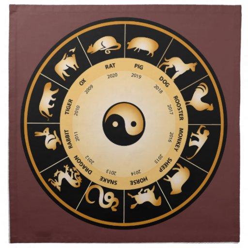Rueda del zodiaco de Chiinese Servilletas Imprimidas