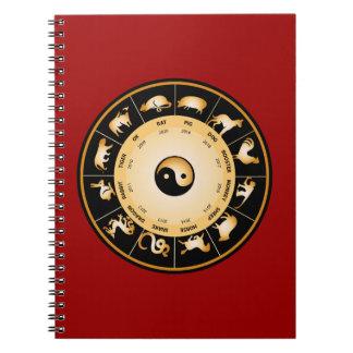 Rueda del zodiaco de Chiinese Spiral Notebooks