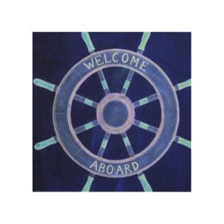 rueda elegante rústica de la navegación de la cuadros de madera