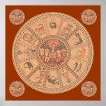 Rueda hebrea israelí del zodiaco posters