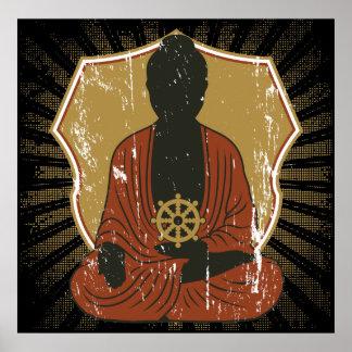 Rueda Meditating de Buda Dharma Posters
