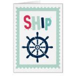 Rueda náutica de la nave felicitaciones