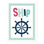 Rueda náutica de la nave tarjetas postales