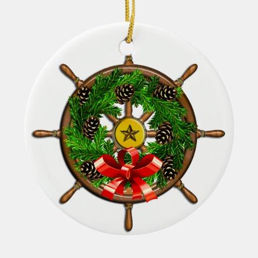 Rueda náutica de las naves del navidad adorno redondo de cerámica