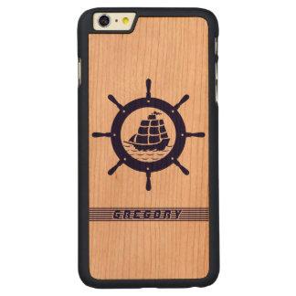 Rueda náutica del barco de los azules marinos con funda de cerezo carved® para iPhone 6 plus slim