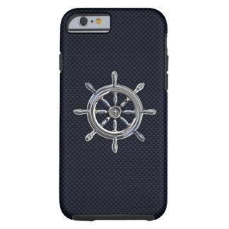 Rueda náutica del cromo en la impresión de la funda de iPhone 6 tough