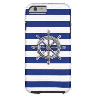 Rueda náutica del cromo en la impresión de las funda de iPhone 6 tough