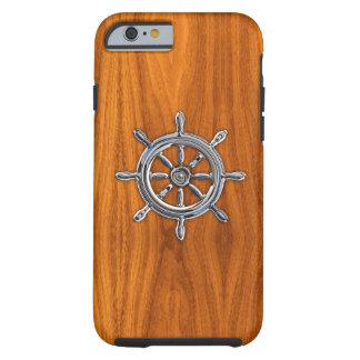 Rueda náutica del cromo en la impresión de madera funda de iPhone 6 tough