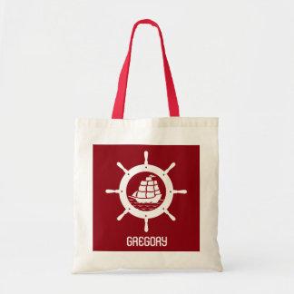 Rueda náutica rojo oscuro y blanca del barco bolsa tela barata